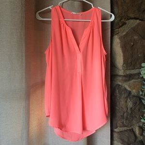 Hot coral flowy sheet tank
